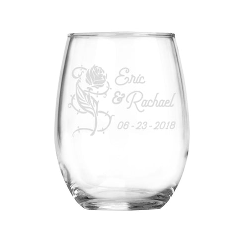 Forever Rose Set personalized stemless wine glasses | Engagement Gift | Anniversary Gift | Wedding Gift | Gifts for Couple | Etched Glasses