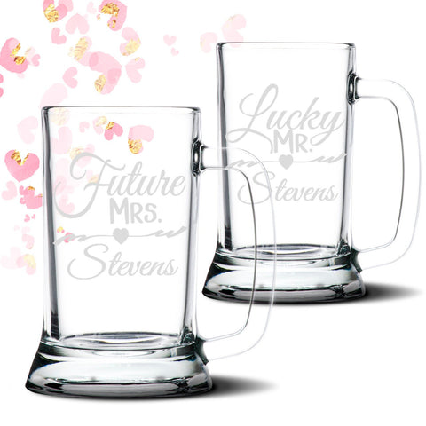 Future Mrs Lucky Mr 16 oz personalized Glass Beer Mug Stein | Engagement Gift | Custom Beer Steins | Beer Lover Gift | Engaged couple gift