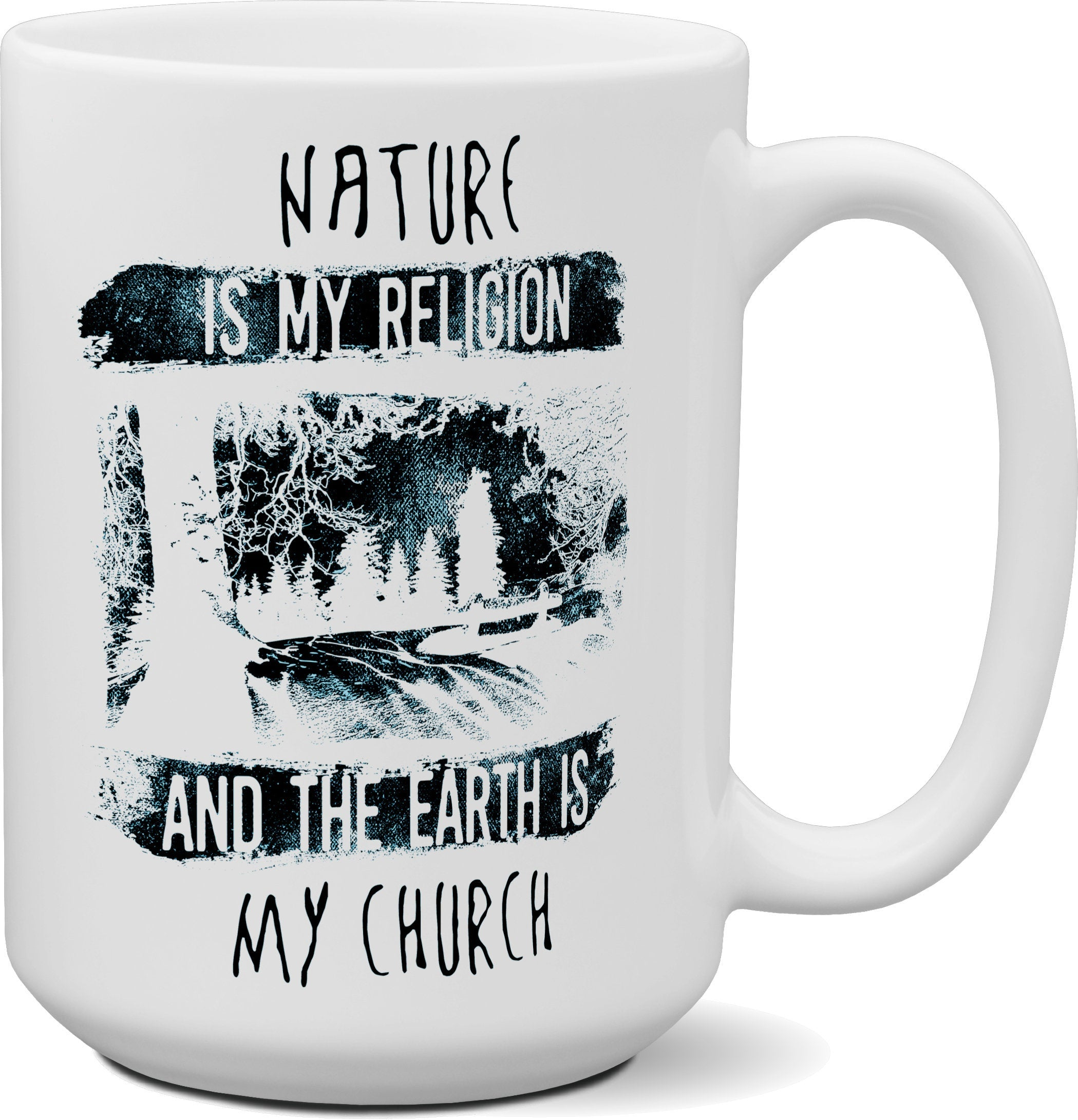 Nature is my Religion 15 oz coffee mug | Camping Camper Gift | Happy Camper | Mountains | Outdoors | Gift for Him