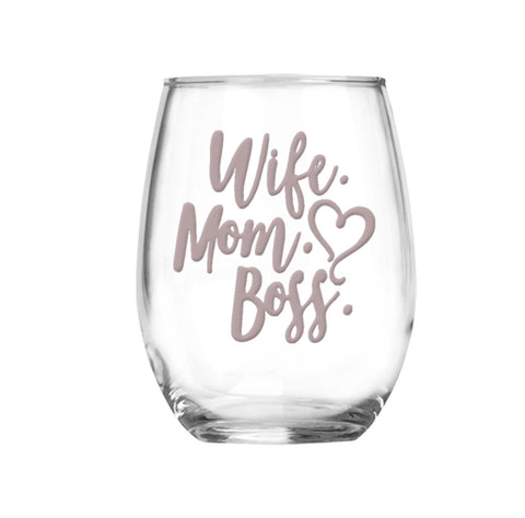 Wife Mom Boss Gift Set | Ring Dish Wine Glass Set | Boss Mom | Gift for Her | Rose Gold | Gift for Mom | Girlfriend Gift | Birthday Gift
