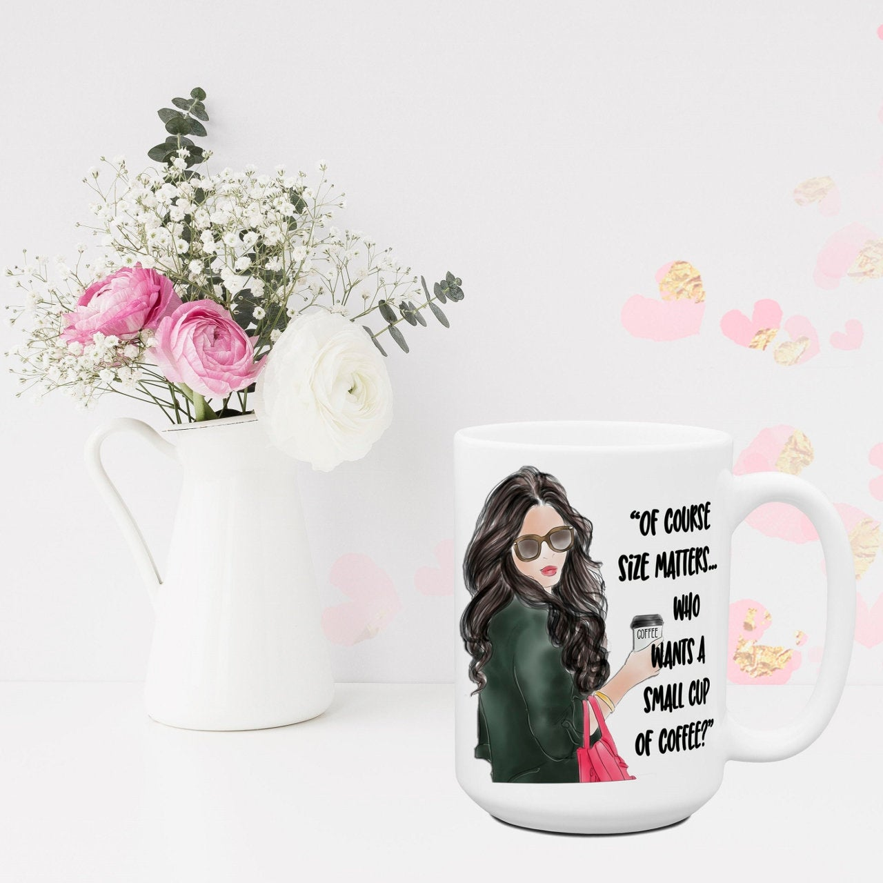 Of Course Size Matters Funny Mugs for Women Sassy Attitude Office Coworker Cup