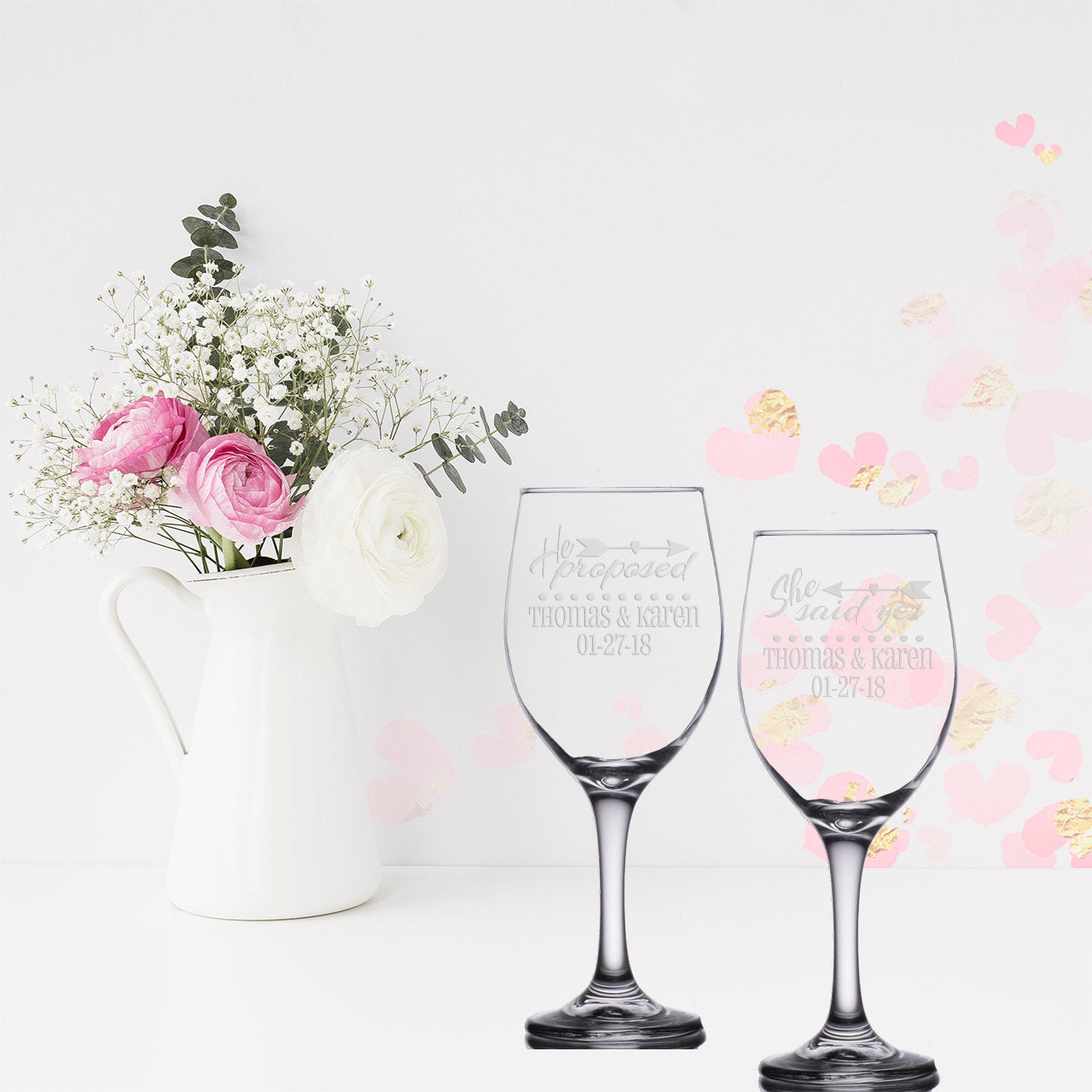 Personalized Engaged Couple Gift He Proposed She Said Yes Wine Glasses | Engagement Gift | Unique Couple Gift | Bridal Shower Glass Set