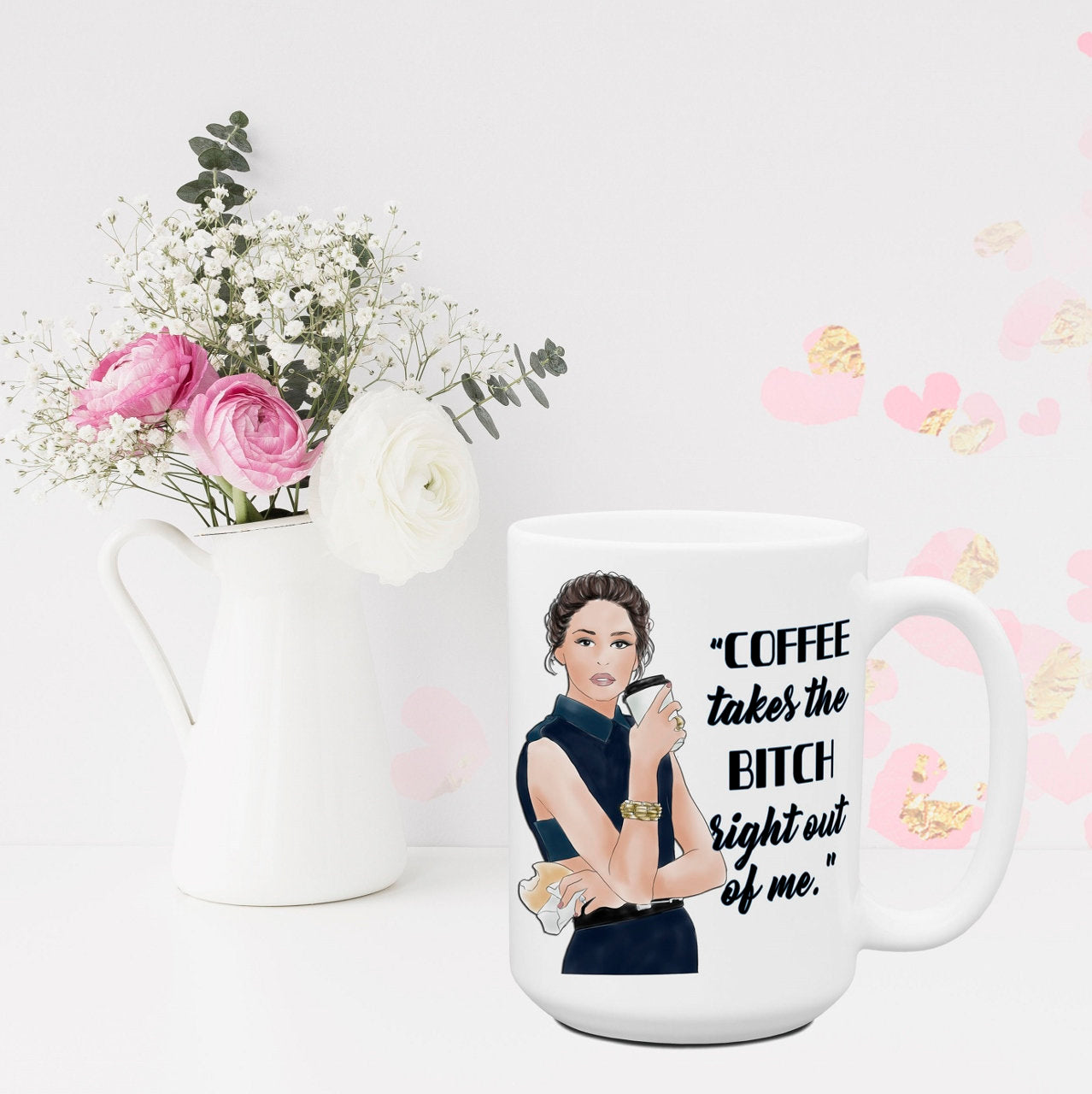 Office Coffee Cups Funny Sassy Attitude Mugs for Women Coffee Takes the Bitch Out of Me