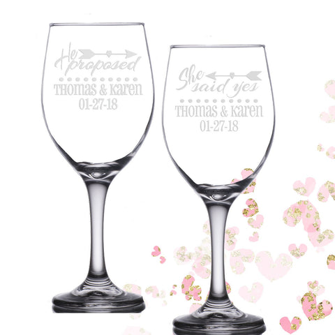 Personalized Engagement Gift He Proposed She Said Yes 14 oz Wine Glasses | Engagement Gift | Unique Couple Gift | Bridal Shower Glass Set