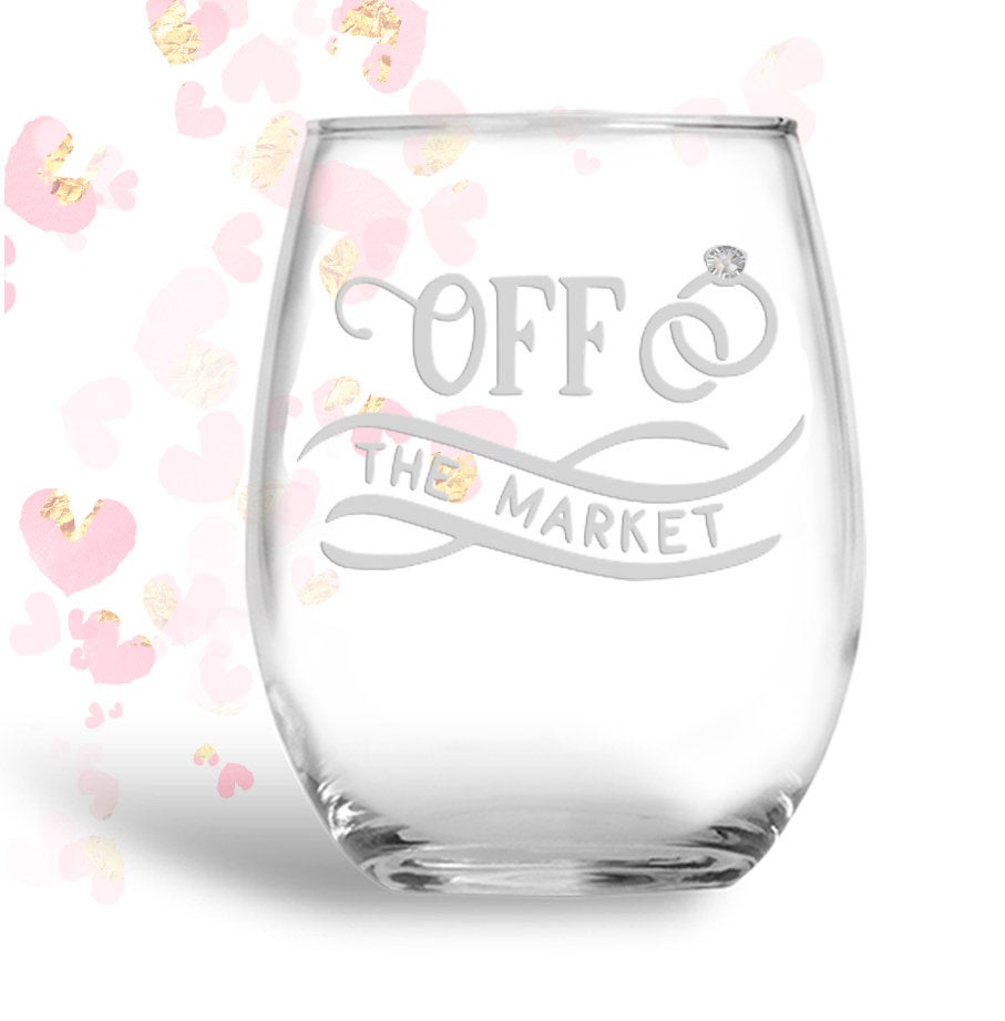 Personalized Off the Market Stemless 21 oz Wine Glass | Bride to Be | Bridal Shower Gift | Future Mrs | Future Bride