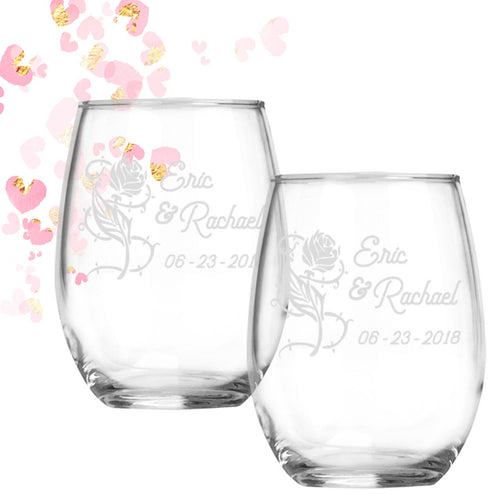 Forever Rose Personalized stemless wine glasses Engagement Anniversary Wedding Couple Gift for Couple