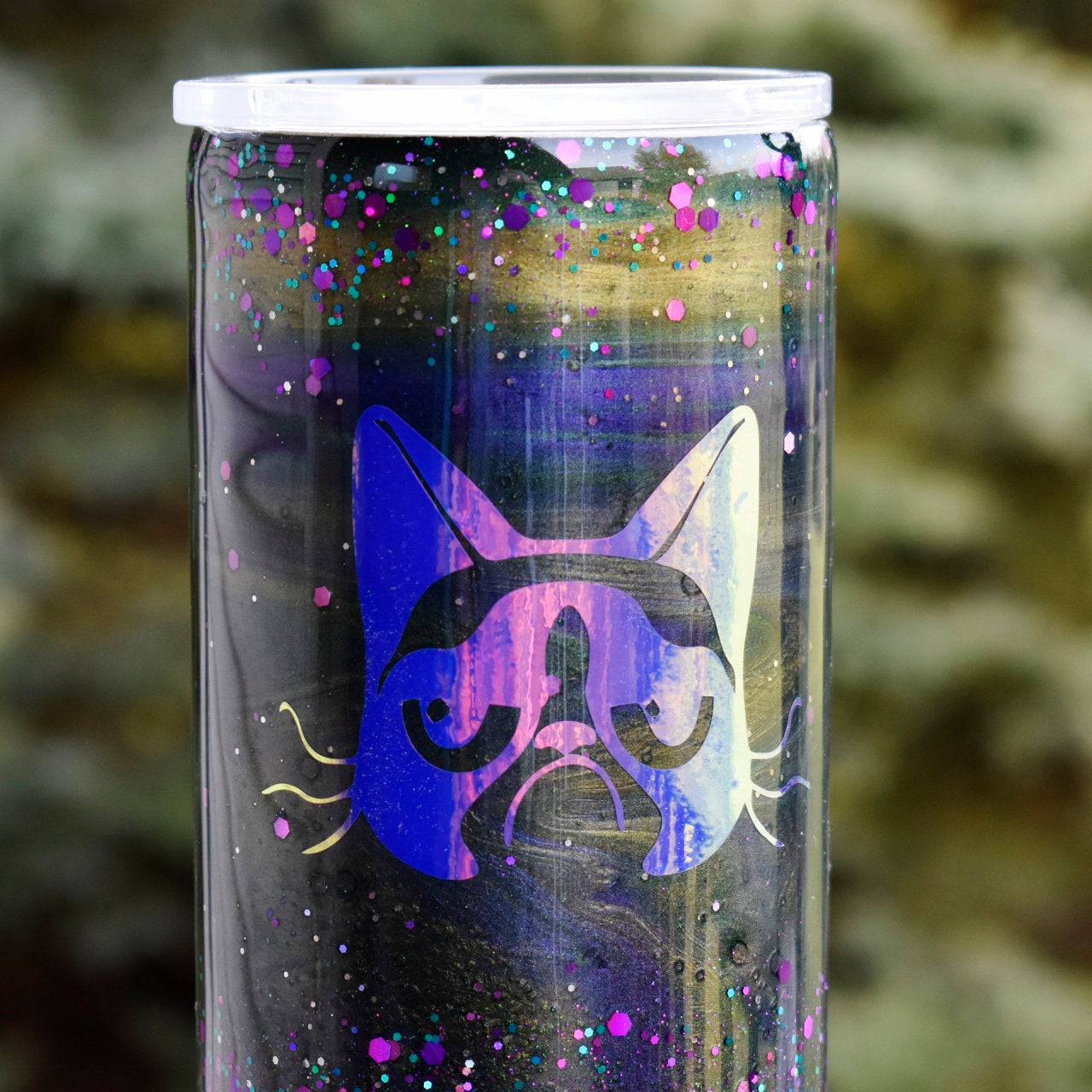 RTS Purple Grumpy Cat 22 oz Tumbler Cups Gift for Her Girlfriend Birthday Stainless Steel Glitter Tumbler