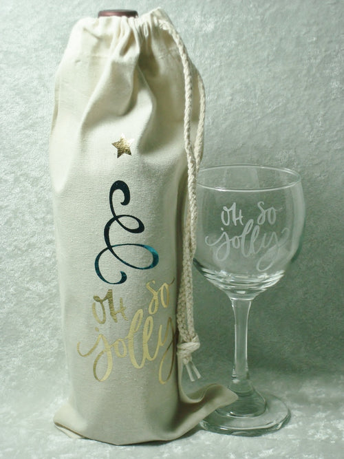 Oh So Jolly Christmas Wine Bag and Glass Gift Set Wine Lover Boss Holiday Hostess Gift