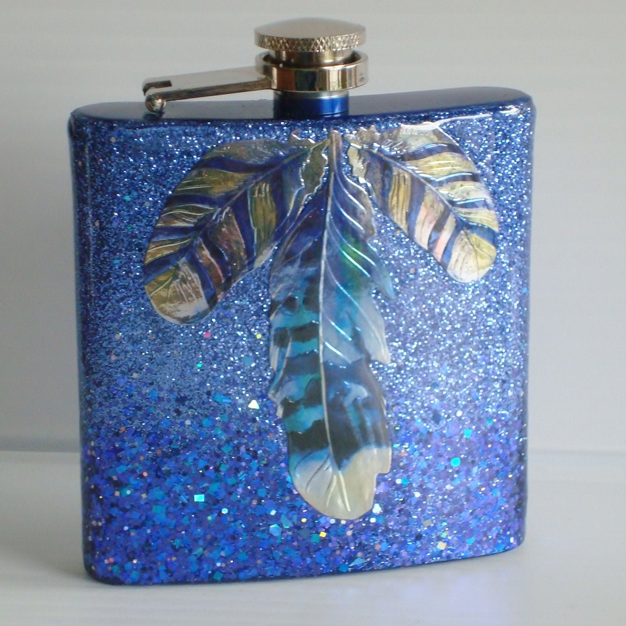 RTS Blue and Silver Glitter Feather Design 6 oz Flask Hip Flask Gift for Him Camping Gift