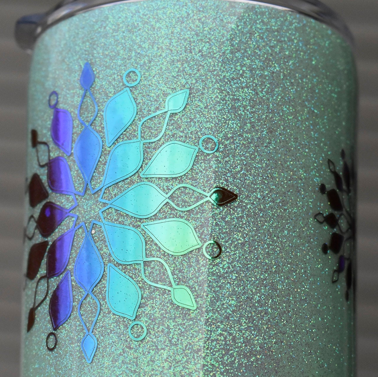 RTS Mandala Mint Ombre Holographic Glitter Tumbler | Gift for Her | Unique Gift | Mandala Design Tumbler