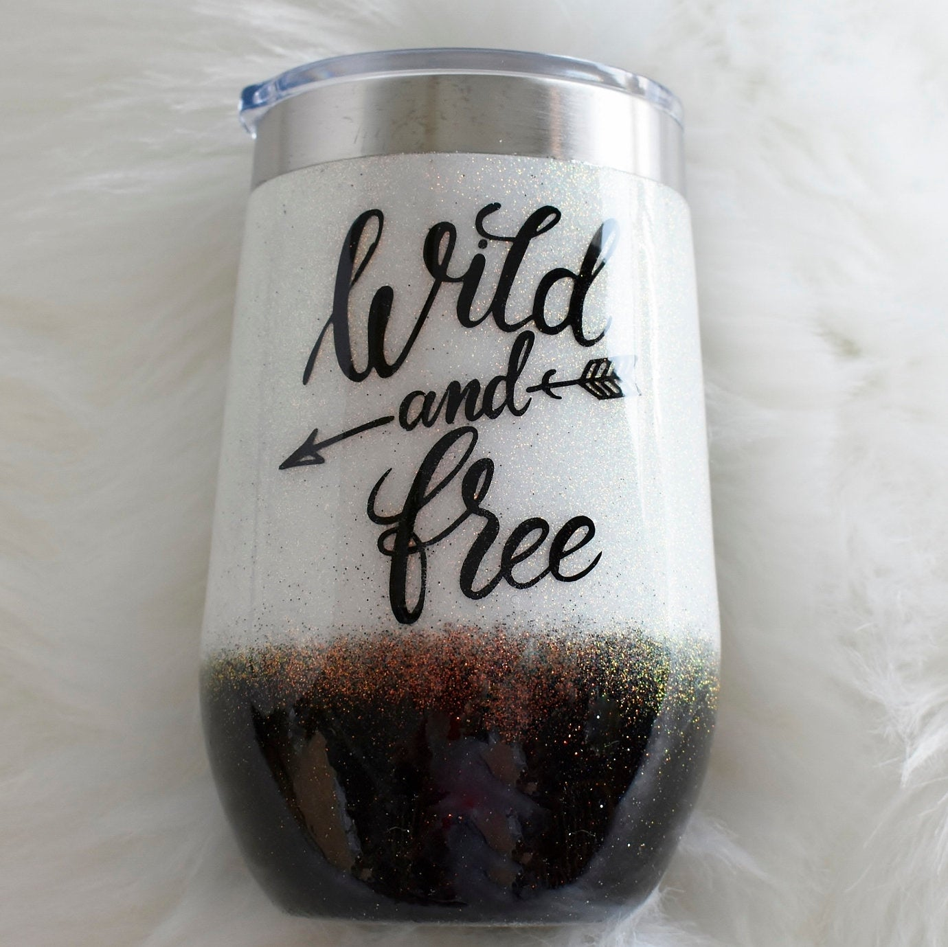 Wild and Free black & Gold glitter 16 oz stainless steel wine glass | Girlfriend Gift | Birthday Gift for her | Wine Lover | Glitter Tumbler