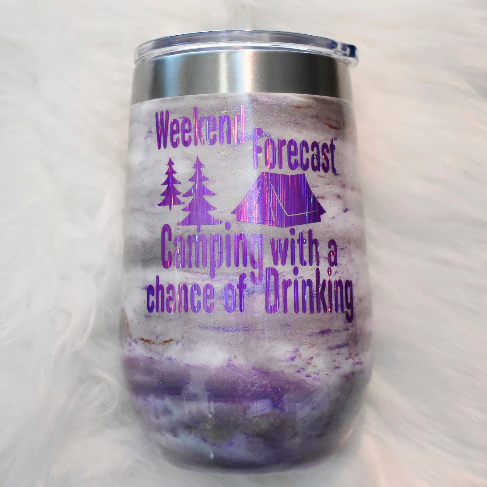 Weekend Forecast Camping glitter mica 16 oz stainless steel wine glass | Camper Gift | Glamper | Wine Lover | Camping Fun | Birthday Wine