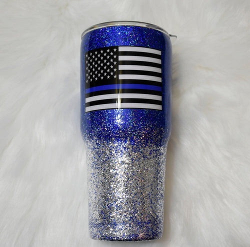 RTS Thin Blue Line Blue Lives Matter 30 oz Tumbler Cups | Police Wife Tumbler | Police Flag | Ready to Ship Gift  | OOAK Stainless Tumbler