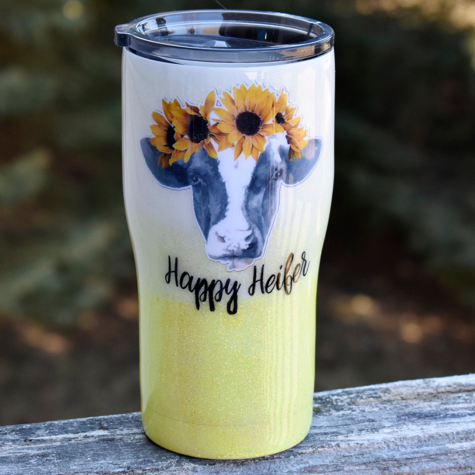 RTS Neon Yellow Glitter Ombre Happy Heifer Sunflower  20 oz Glitter Tumbler | Happy Cow | Cowgirl | Cow Lover | Farm Girl | Cow Tumbler