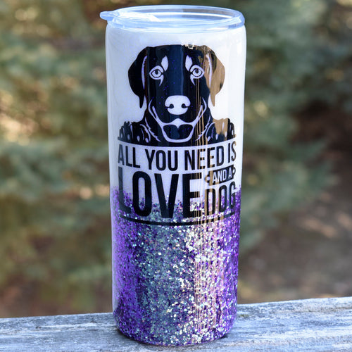 RTS White & Purple 20 oz Glitter Labrador Tumbler | Dog Lover | Lab Glitter Tumbler | Labrador | Stainless Steel Insulated | Pet Lover Gift