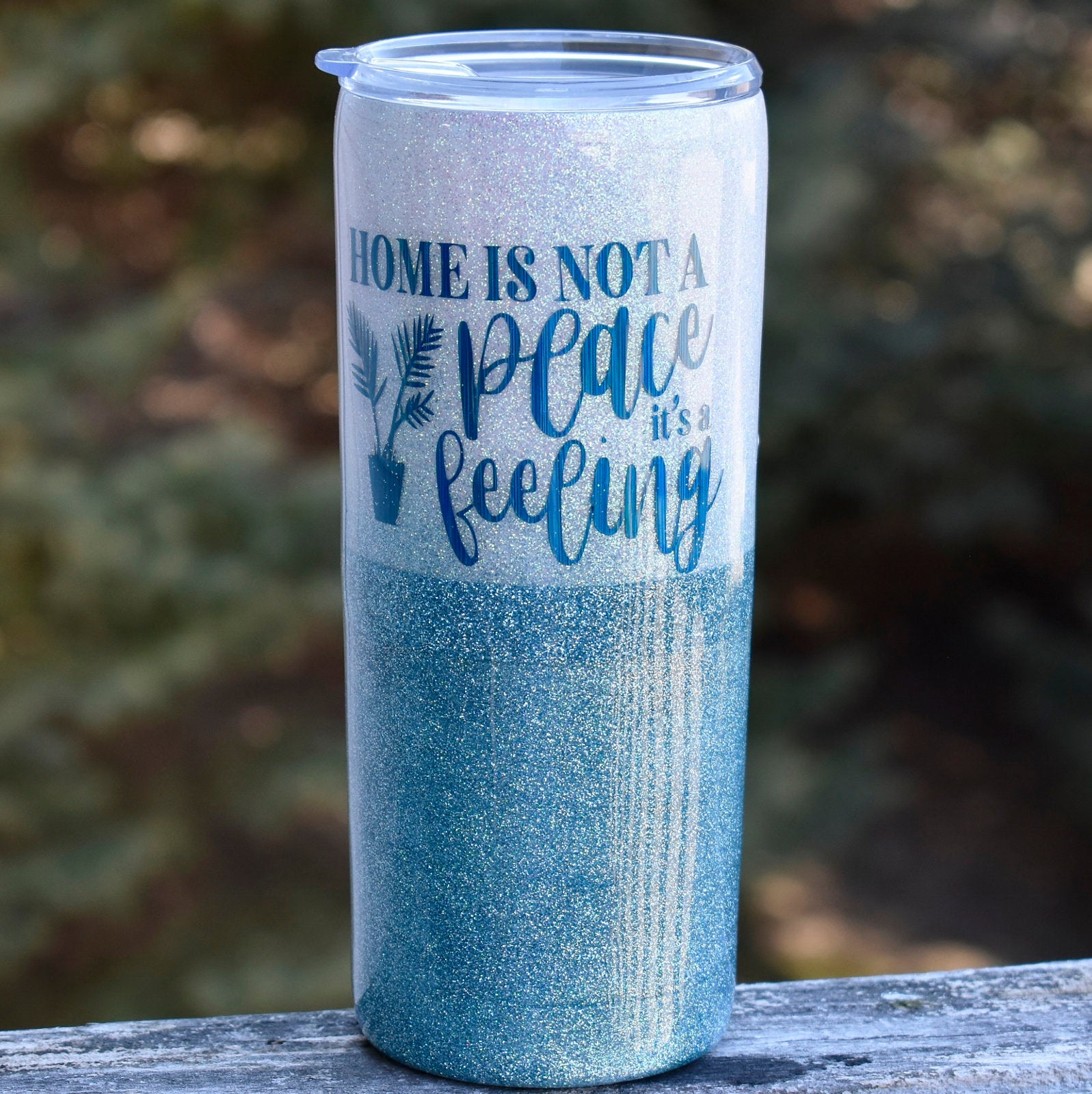 RTS White and Teal 20 oz Glitter Tumbler | Home is not a place its a Feeling | Glitter Tumbler | Housewarming Gift | Realtor Gift |
