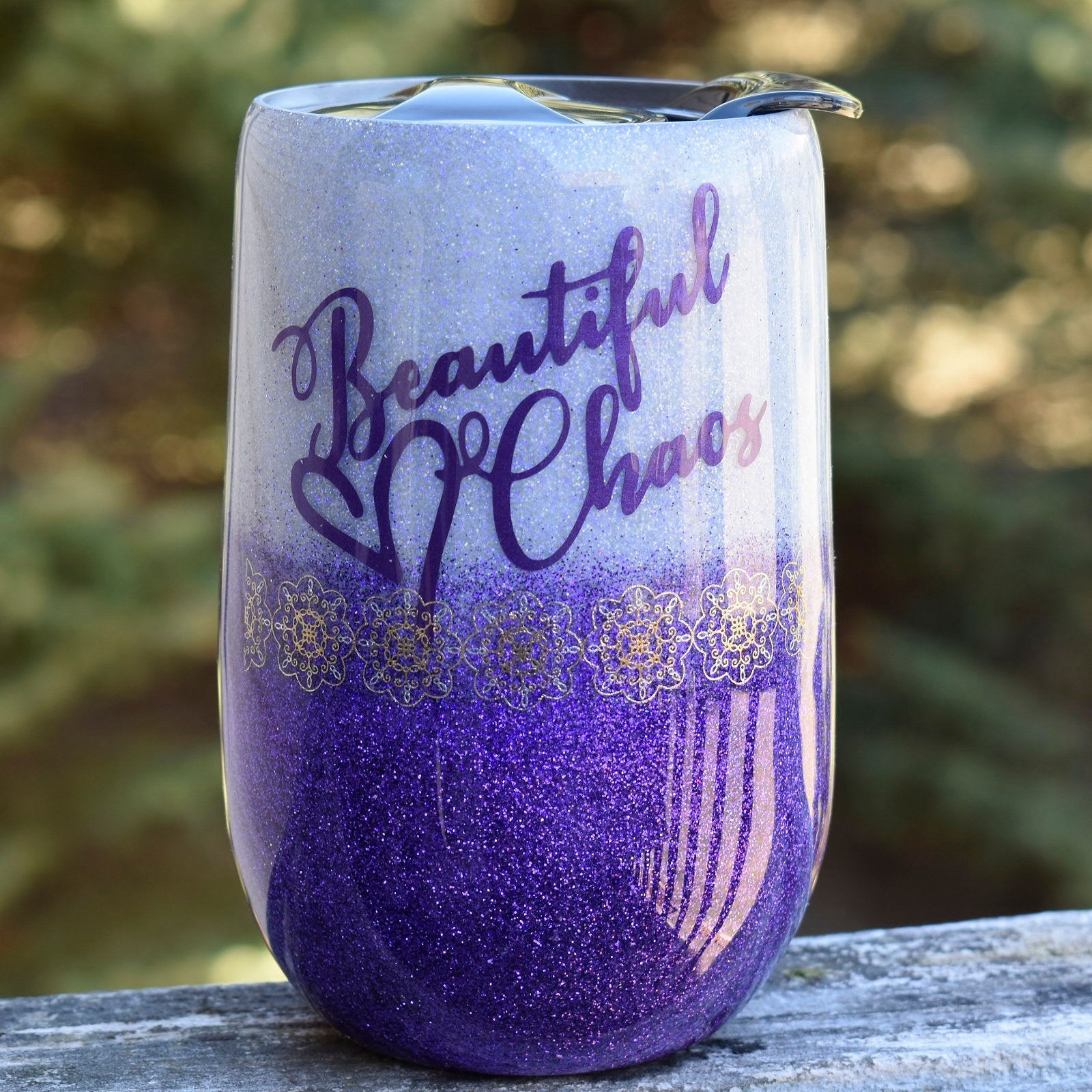 RTS  Beautiful Chaos 16 oz purple glitter wine tumbler | Girlfriend Gift | Birthday Gift | Gift for Mom | Wine Lover | Baby Shower Gift