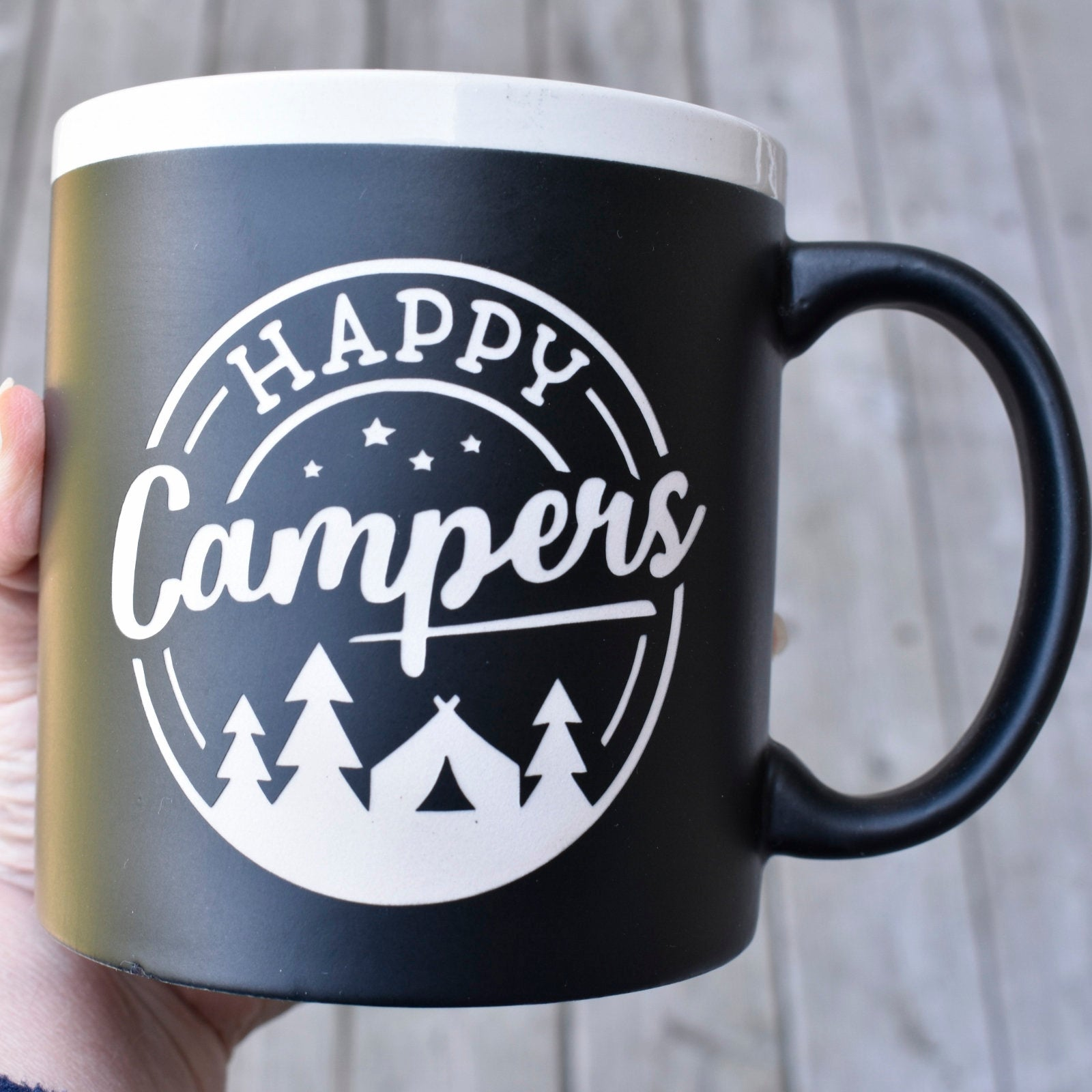 Jumbo Chalkboard Happy Campers Coffee Mug | Message Coffee Mug | Outdoor Lover Gift | Camp Coffee Cup | Camper Mug Gift | Camping Gift