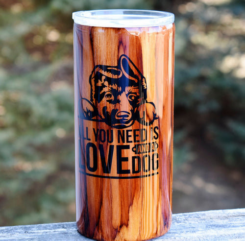 RTS Woodgrain German Shepard Puppy 22 oz Tumbler Cups | Gift for Him | Dog Lover Gift | Insulated Tumbler | Dog Mom | Pet Lover Gift