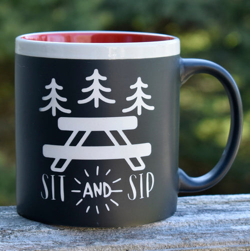 Jumbo Chalkboard Sit and Sip Camping Coffee Mug | Camping Coffee Mug | Outdoor Lover Gift | Camp Coffee Cup | Camper Gift | Camping Gift