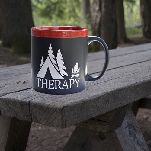 Camping is Therapy 22 oz Coffee Mug Tent Camping Outdoor Lover Gift Coffee Cup