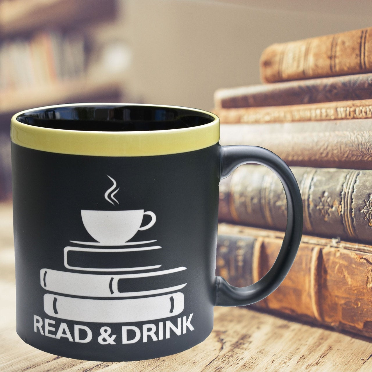 Read and Drink 22 oz Large Coffee Mug Book Lover Gift Book Club Cup