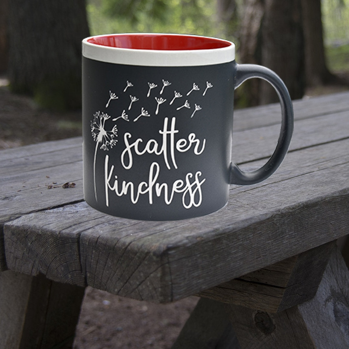 Scatter Kindness 22 oz Coffee Mug Jumbo Message Mug Gift for Her Dandelions Theme