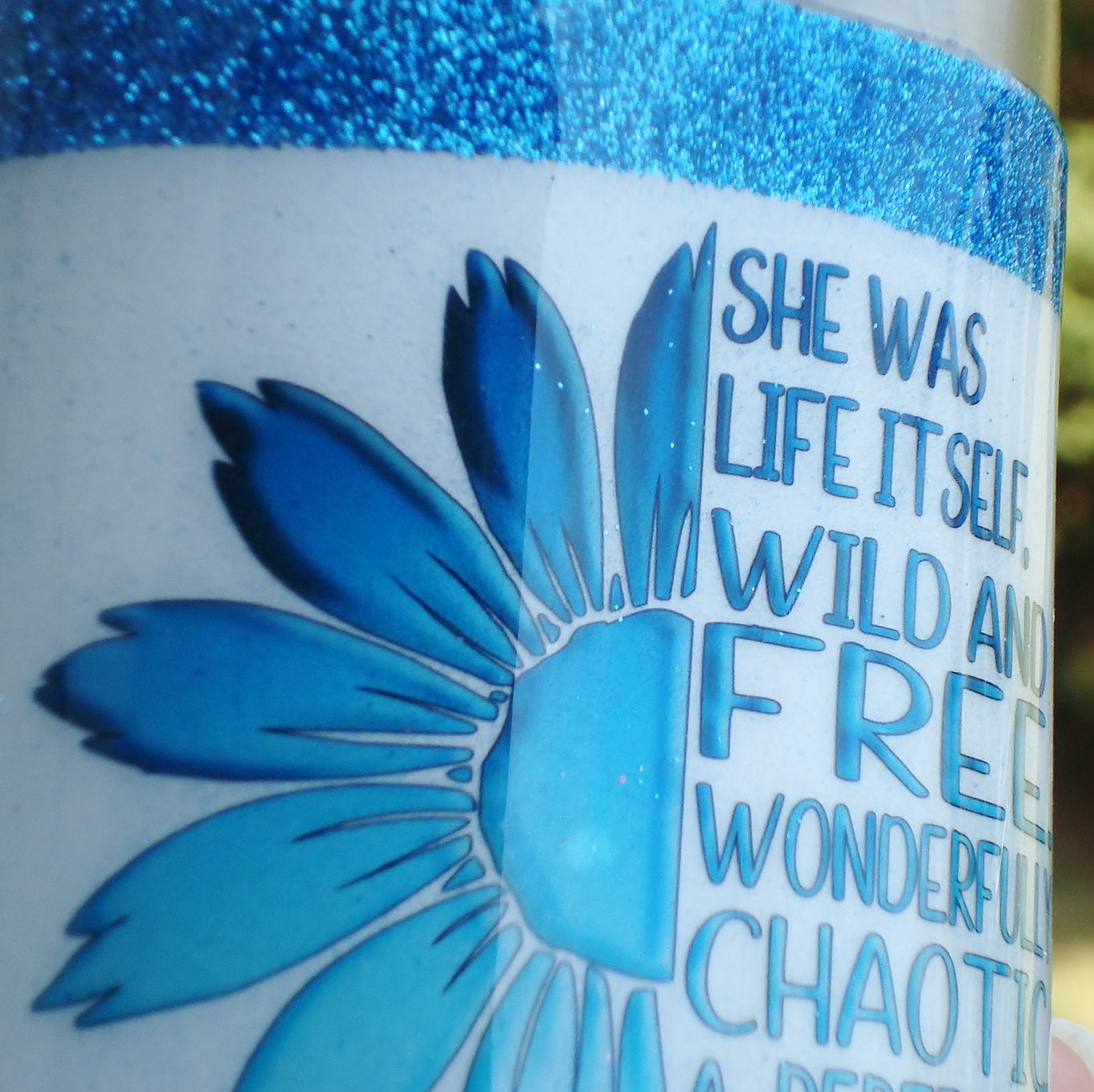 16 oz Teal Sunflower Chaos glitter mica wine stainless steel tumbler Birthday Graduation Gift for her