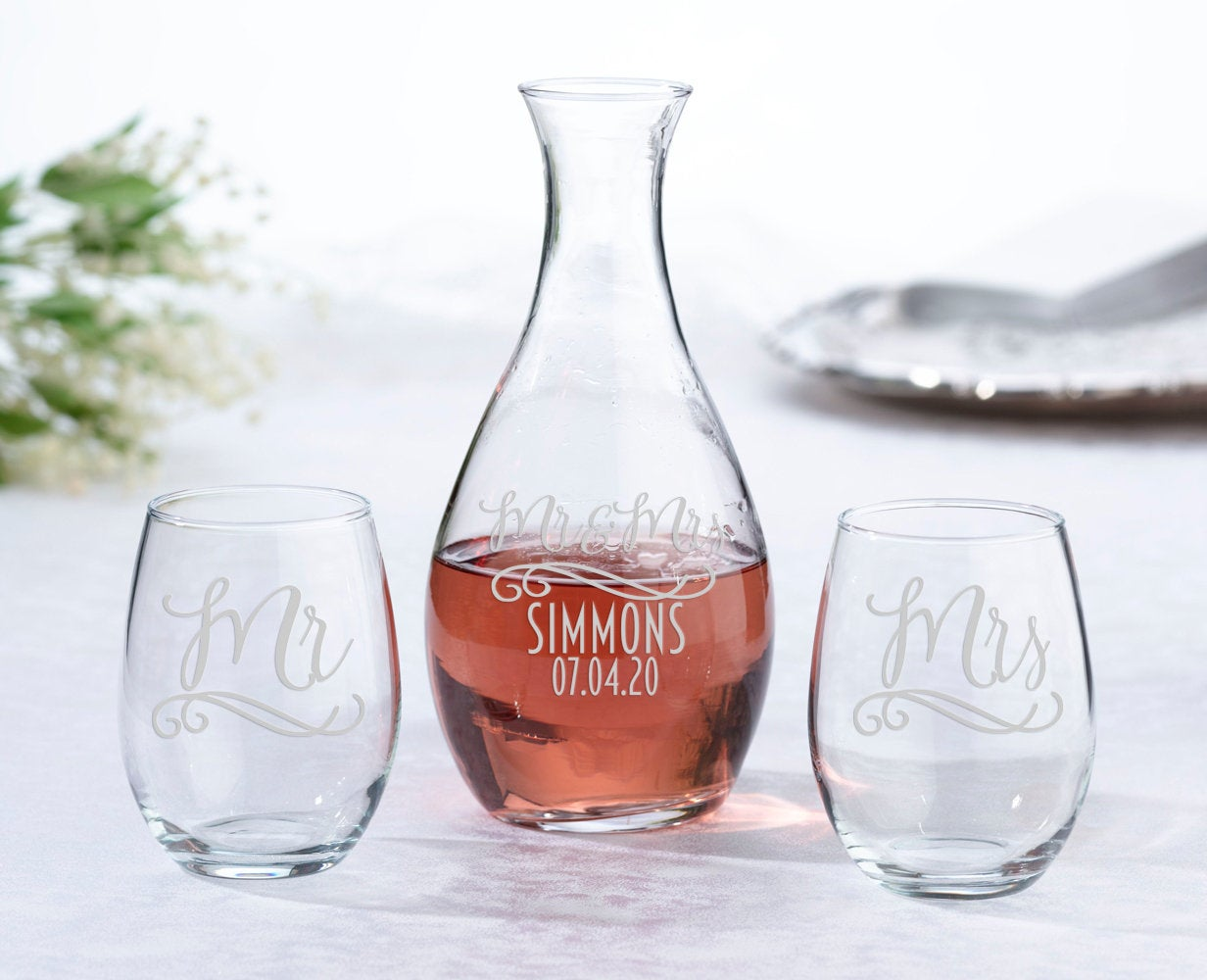Personalized Wedding Unity Set, Stemless Wine Glass Carafe Set, Unity Ceremony, Wedding Couple Bridal Shower Gift