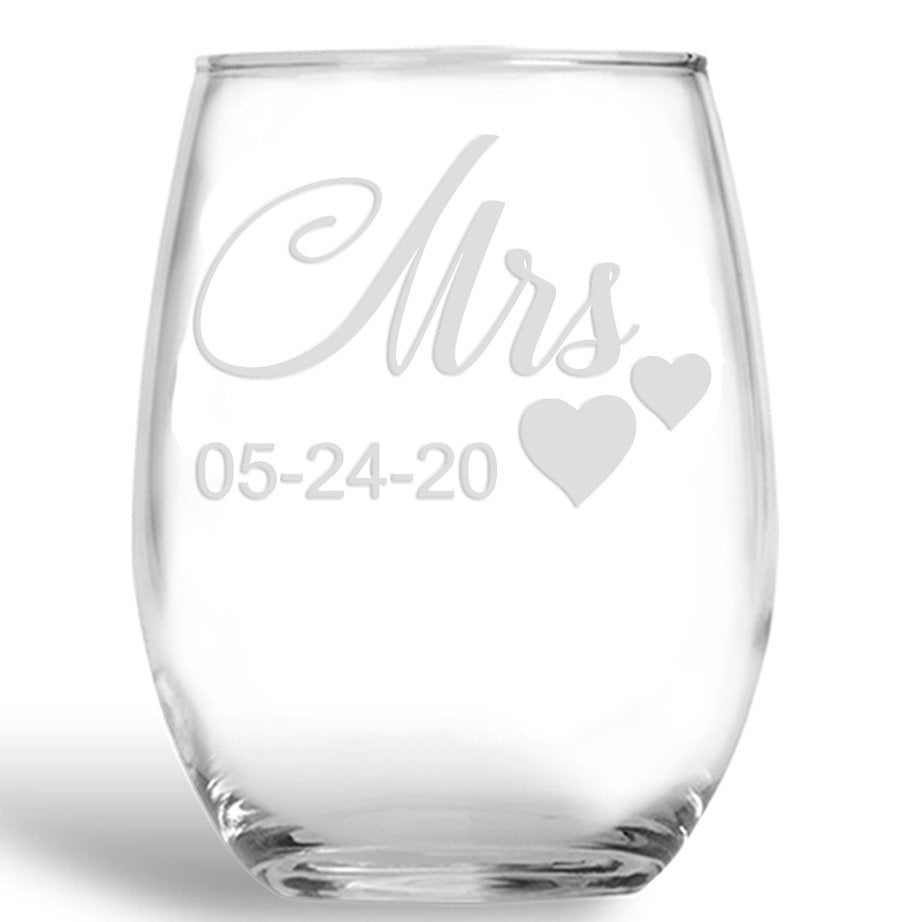 Personalized Stemless Wine glass set, Mr and Mrs, Wedding glasses, Wedding Wine glasses, Mr and Mrs Gift, Mr Mrs glasses, couples wedding gift