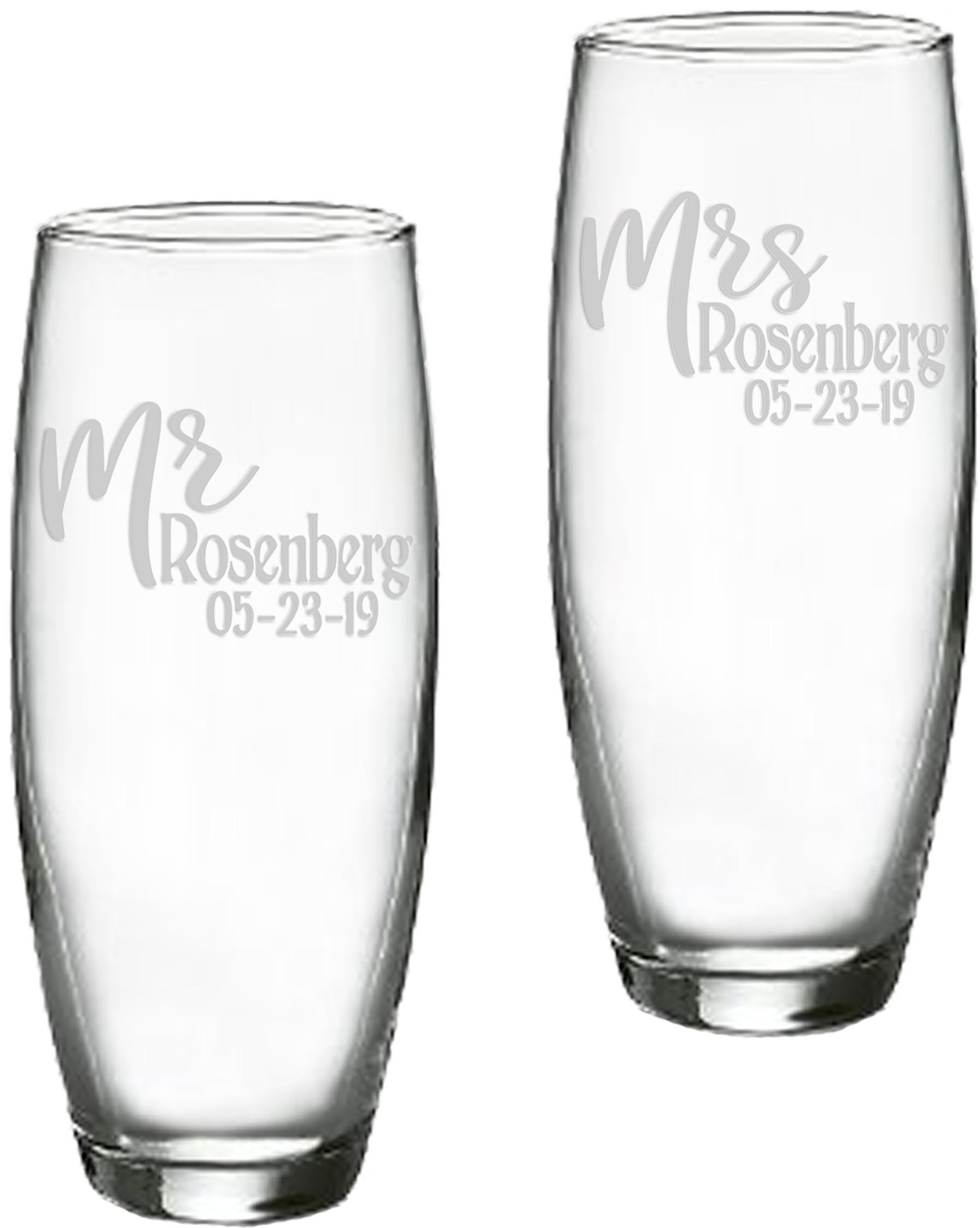 Mr and Mrs Personalized Stemless 9 oz Champagne Flutes | Wedding Toasting Flutes | Bride Groom Gift | Bridal Shower | Wedding Couple Gift
