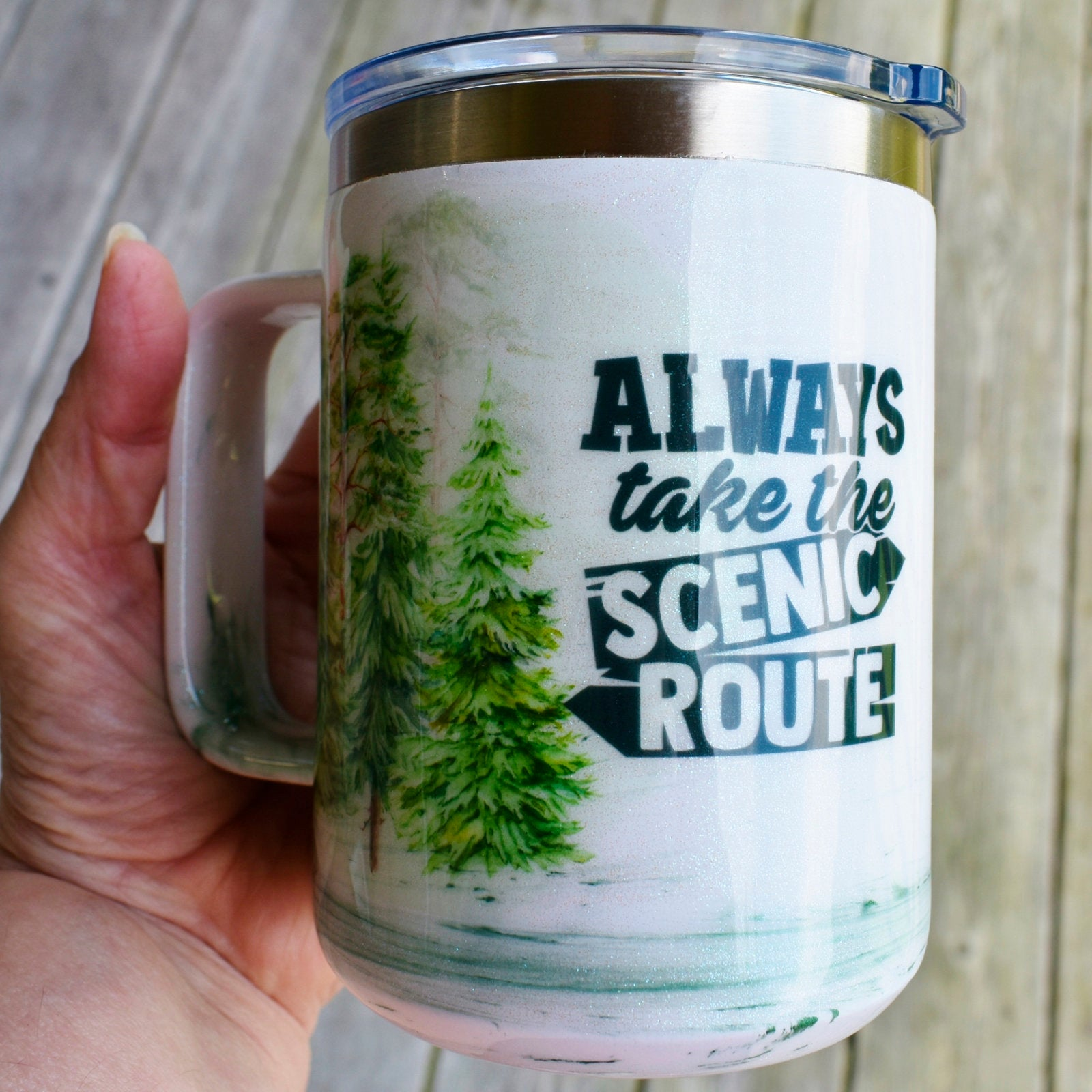 Always Take The Scenic Route Coffee Mug Camping Outdoor Lover Gift Pine Tree Theme Stainless Steel Coffee Mug