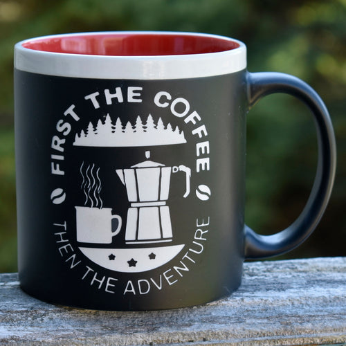 First The Coffee Then the Adventure Coffee Mug Camping Outdoor Lover Gift RV Camper Camping Gift