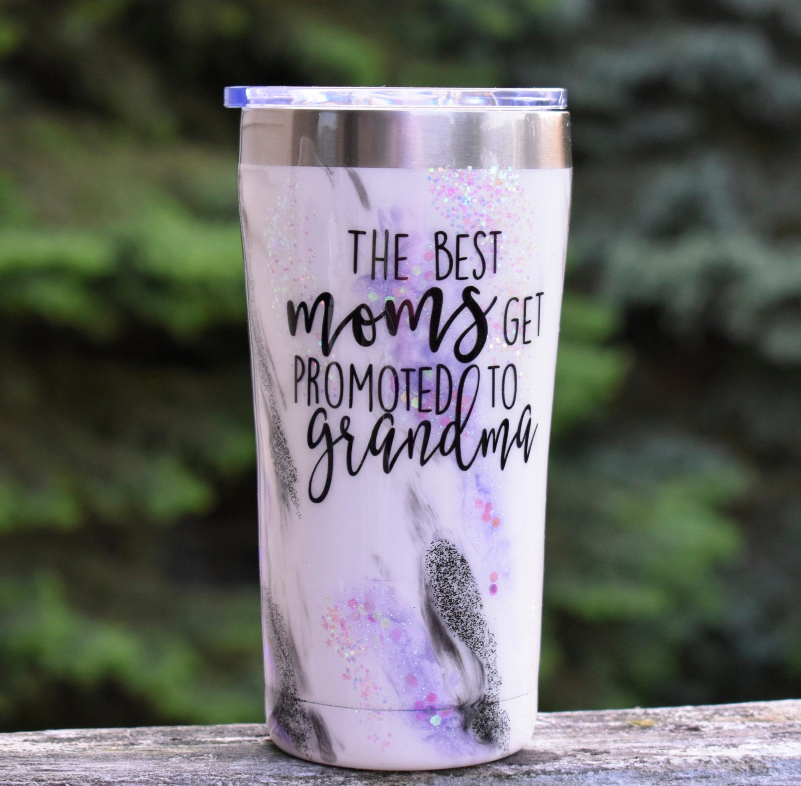 RTS Best Moms Get Promoted to Grandma | Grandma Reveal Glitter Tumbler | Grandma to Be Gift | New Grandma Gift