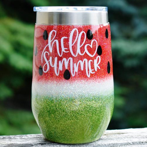 16 oz Hello Summer Watermelon RTS glitter Wine tumbler Birthday Gift for Her