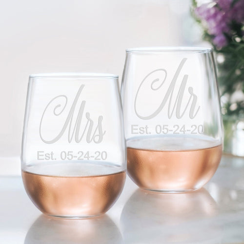 Mr Mrs Stemless Wine glass set, Mr and Mrs, Wedding glasses, Wedding Wine glasses, Mr and Mrs Gift, Mr Mrs glasses, couples wedding gift