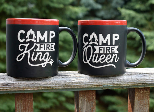 Campfire King Queen 22 oz Coffee Mug Outdoor Lover Gift Camp Coffee Cup Camping Couple Gift