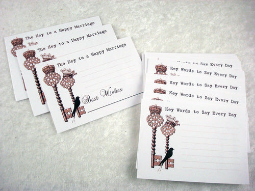 "Wedding Advice Cards Set of 36 cards Steam Punk Crown and Bird ""The Key to a Happy Marriage"" Advice Cards"
