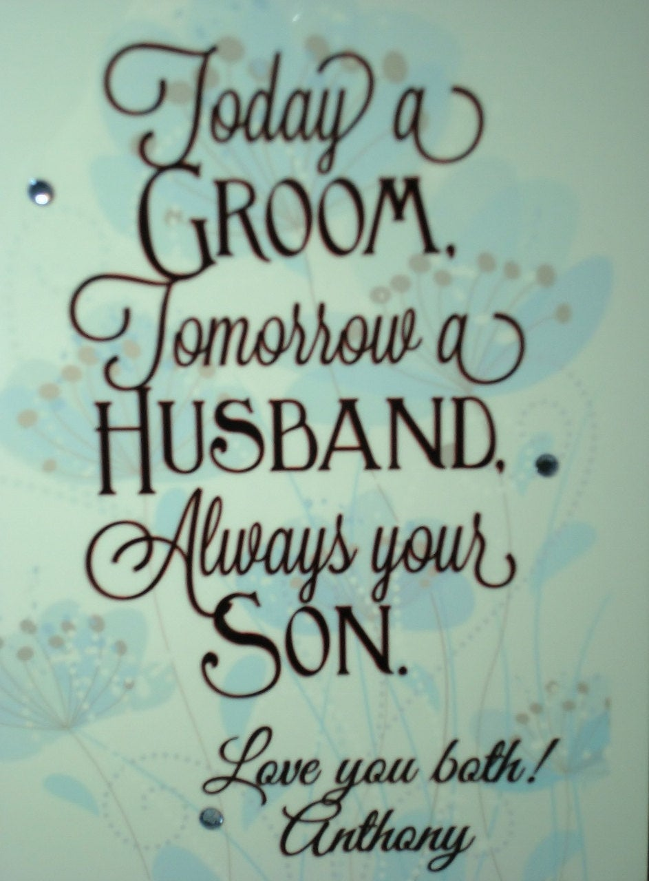 Parent Personalized Photo Frame Wedding Gift From Son Today a Groom - Always your Son