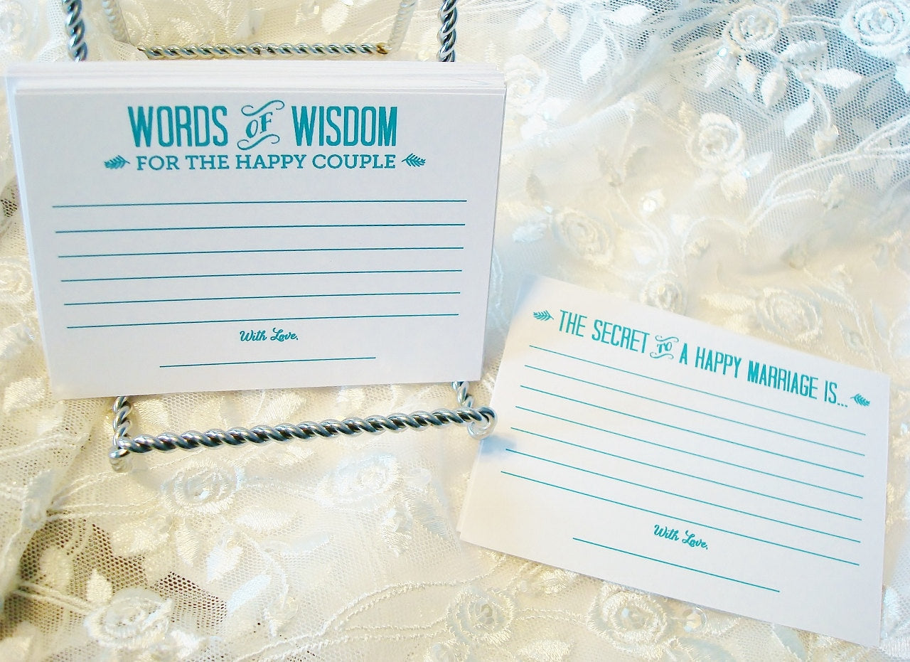 Tiffany Blue Alternative Wedding Guest Book set of 36 Marriage Advice Cards