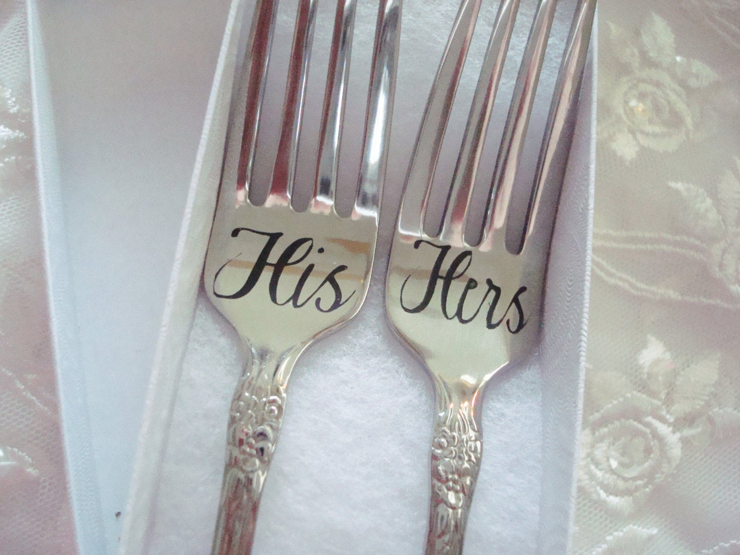Bridal Shower Cake Fork Set Gift Wedding Couple Gift His and Hers Gift Anniversary