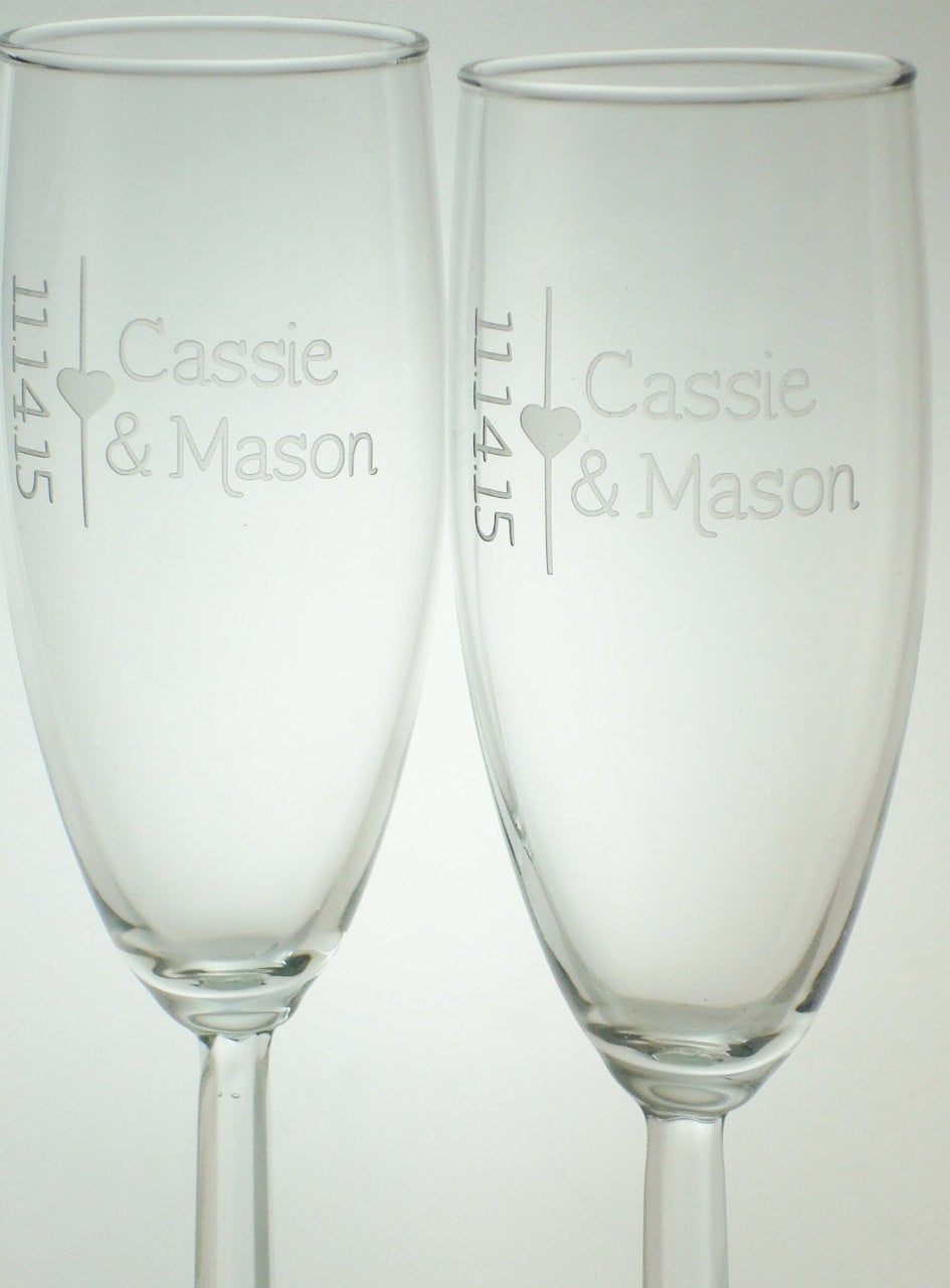 Toasting Flutes Personalized with Names and Date Bride Groom Glass Set Wedding Shower Gift