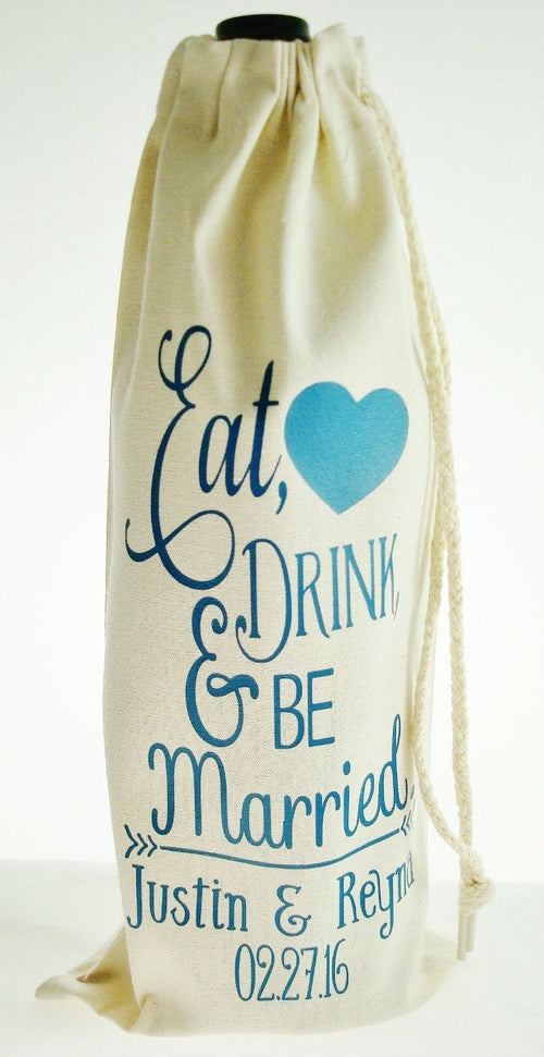 Personalized Cotton Muslin Wedding Theme Eat, Drink and Be Married Liquor or Wine Bag - Choice of 24 Colors | Personalized Wedding Gift
