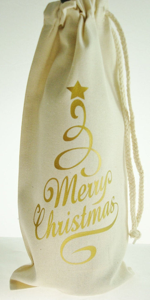 Merry Christmas Gold Wine Bottle Bag with Drawstring -  Hostess Gift Bag | Christmas Goodie Bag | Wine Lover Gift | Coworker Gift | Wine Bag