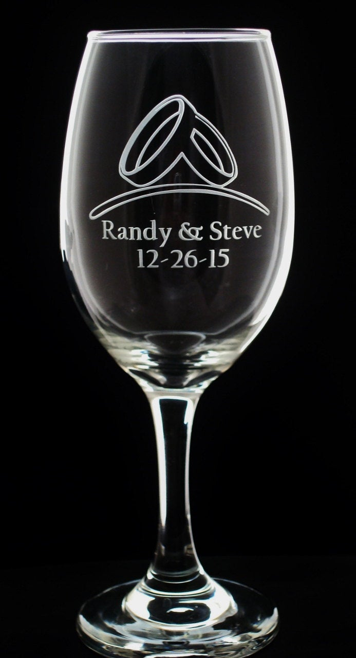 Set of Grooms - Mr and Mr - Same Sex Personalized Wedding Wine Glasses Gay Marriage Gift