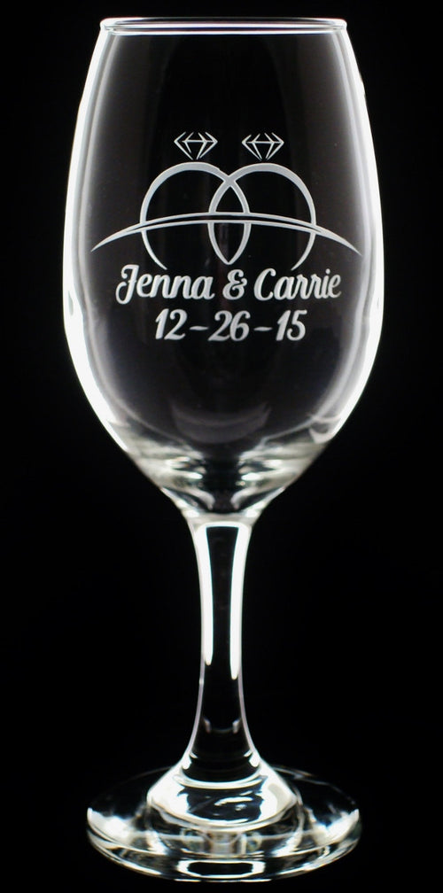 Personalized Hers and Hers Mrs and Mrs LGBT Wedding Rings Gay Marriage Wine Glasses