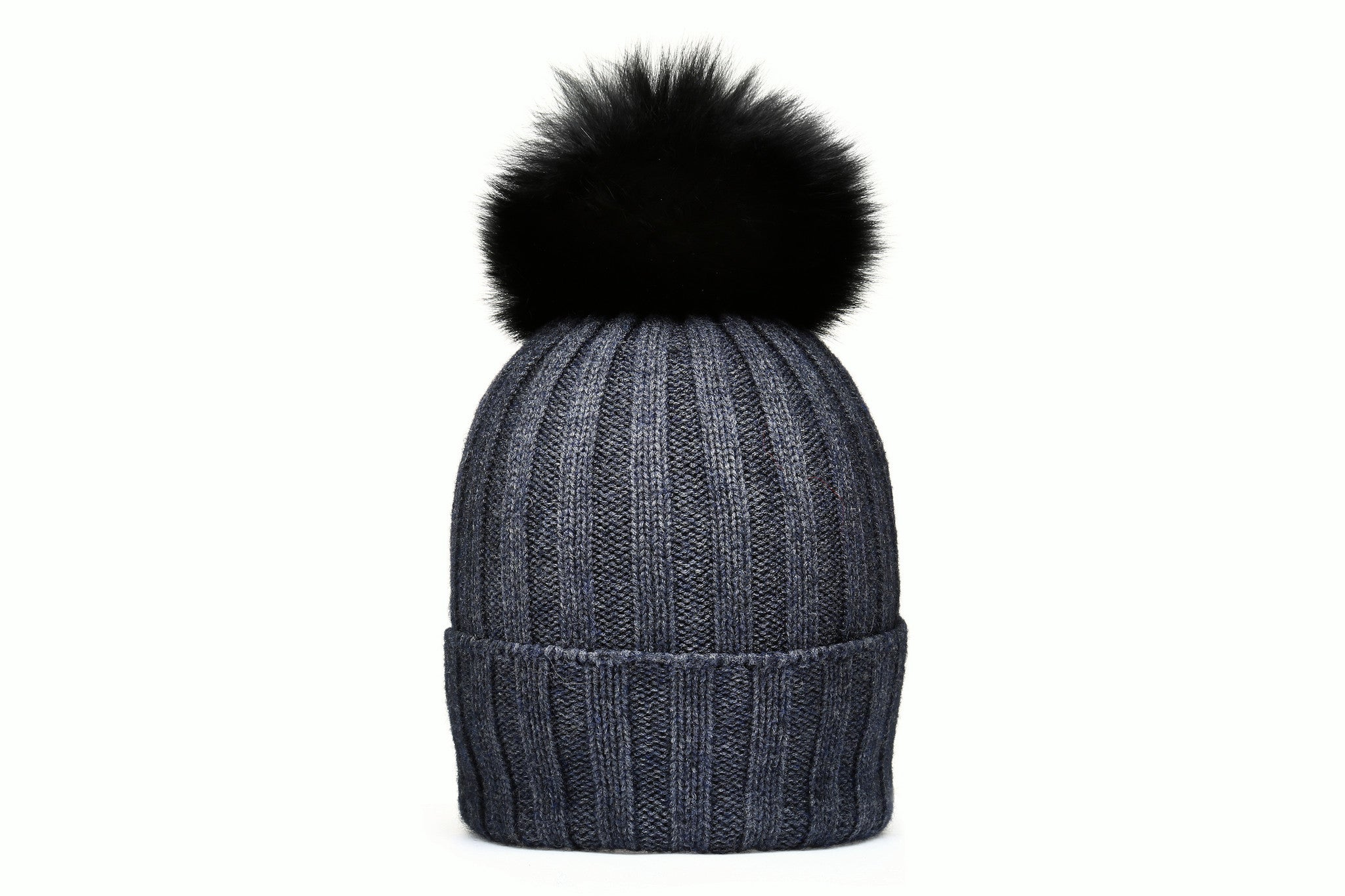CHESTER Charcoal Beanie | Black Pompon