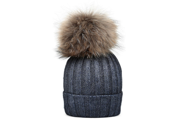 CHESTER Charcoal Beanie | Natural Pompon