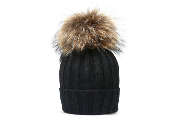 EATON Black Beanie | Natural Pompon