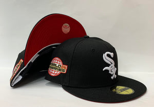 "New Era Chicago White Sox Fitted Red Bottom ""Black White"" (2005 World Series Embroidery)"